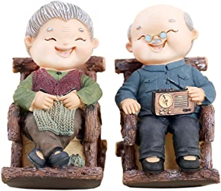 Loving Elderly Couple Statue Old Age Life Resin Figurines Home Decoration Great Gift for Anniversary Wedding Engagement Romance Sculpture (A4 Rocking Chair)