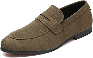 XIMINGJIA-O Classic Oxford For Men Smoking Loafers Slip On Suede Low Heel Wear Resistant Pointed Toe Patchwork Stitching Solid Color Vegan(multi Size Optional) Men's leather shoes, traditional classic