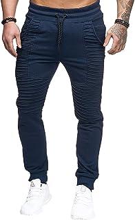 Love My Fashions/® Hombre Informal Self con Cintur/ón el/ástico Vuelta Jogging Fondos de pa/ño Grueso y Suave Bolsillos con Cremallera Cierre Dobladillo Pantal/ón