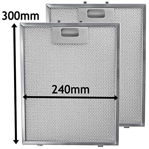 Spares2go Filtro de malla de metal para campana extractora de cocina/ventilador extractor de cocina IKEA (paquete de 2 filtros, plata, 300 x 240 mm)