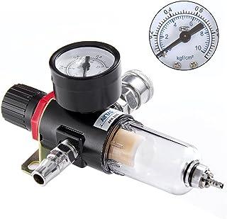 liuzhuo エアーレギュレーター ウォーターセパレーター フィルター 圧力計 エアー 圧縮調節と水分除去に レギュレーター付きエアーフィルター 1/4オスメスカプラー各1個付 水抜き オイル混合