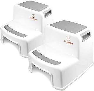 comprar comparacion Angelbliss Taburete con doble escalón para niños, taburete para niños pequeños para niños en la cama, baño(Gris Conjunto d...