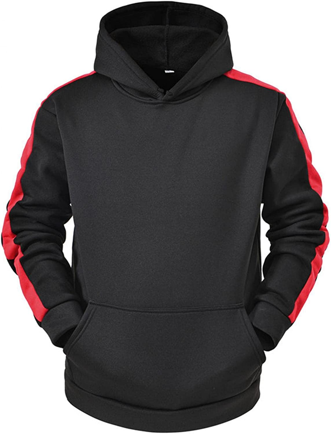 Huangse Warm Hoodie Sweatshirt for Men Classic Fit Side Striped Long Sleeve Pullover Jogging Gym Athletic Wear