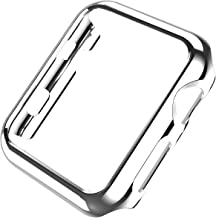 Leotop Compatible with Apple Watch Case 44mm 40mm, Super Thin PC Plated Bumper Protector Shiny Cover Lightweight Slim Shell Shockproof Frame Accessories Compatible iWatch Series 5 4 (Silver, 40mm)