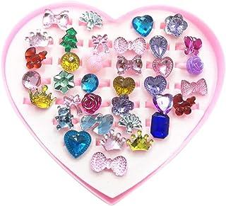 rongweiwang 36 stycken tecknade ringar barn harts öppen finger flicka strassringar flicka strass smycken med förvaringsbo...