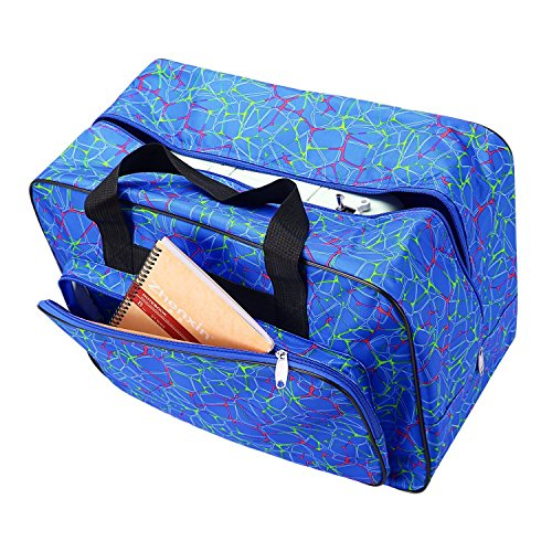 Dtemple Floral Sewing Machine Tote Waterproof Carrying Bag with Pockets and Handles (Blue)