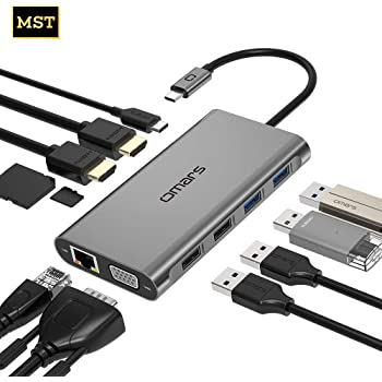 Omars USB C Hub, 11 in 1 Type C Adapter Docking Station, Dual 4K HDMI Triple Display, with Ethernet, VGA, 4 USB Ports, SD/TF Card Reader, 100W PD Charging Port for MacBook/Pro/Air and Type-C Laptops