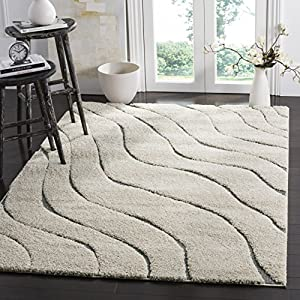 Safavieh Florida Shag Collection SG472 Abstract Wave 1.2-inch Thick Area Rug, 8′ x 10′, Cream / Grey