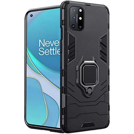 TheGiftKart Tough Armor Bumper Polycarbonate Back Case Cover with in-Built Ring Holder & Kickstand for OnePlus 8T (Carbon Black)