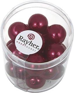 Rayher 14404287 Renaissance Glass waxs Cuentas de diámetro 12 mm Tubo de 21 clásica Rojo