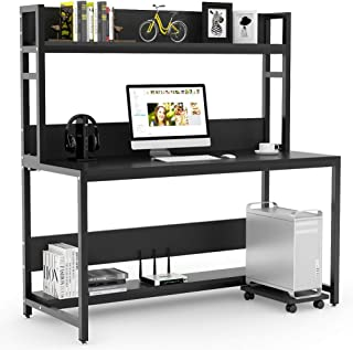 Tribesigns 55 Inches Large Computer Desk with Hutch, Modern Writing Desk with Bookshelf, PC Laptop Study Table Workstation for Home, Black + Black Legs