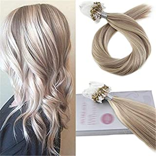 RemeeHi Micro Ring Hair Extensions Straight Micro Loop Hair Extensions Real Human Hair 100 Strands 100g 20 Inch Per Pack 27# Strawberry Blonde