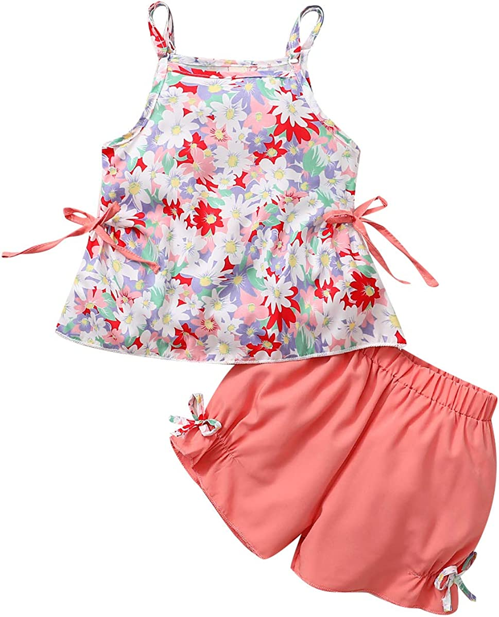 Toddler Baby Ranking TOP20 Girl Time sale Floral Shorts Set Ti Tank Halter Daisy Top+Bow