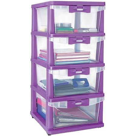 Nilkamal CHTR23 3 Layers Plastic Chest of Drawers Purple