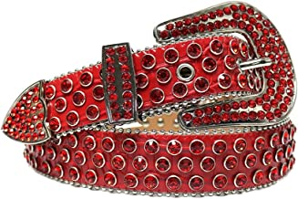 SSMDYLYM Vintage riem lederen mannelijke riemen studded riem steentjes kristallen riem voor mannen vrouwen (Color : Red, S...