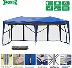 VINGLI EZ POP UP 10'x20' Outdoor Canopy Tent| Removable Mesh Sidewalls & Portable Rolling Carrying Bag, for Camping/Travel/Patio/Gazebo, Sun & Water Resistant