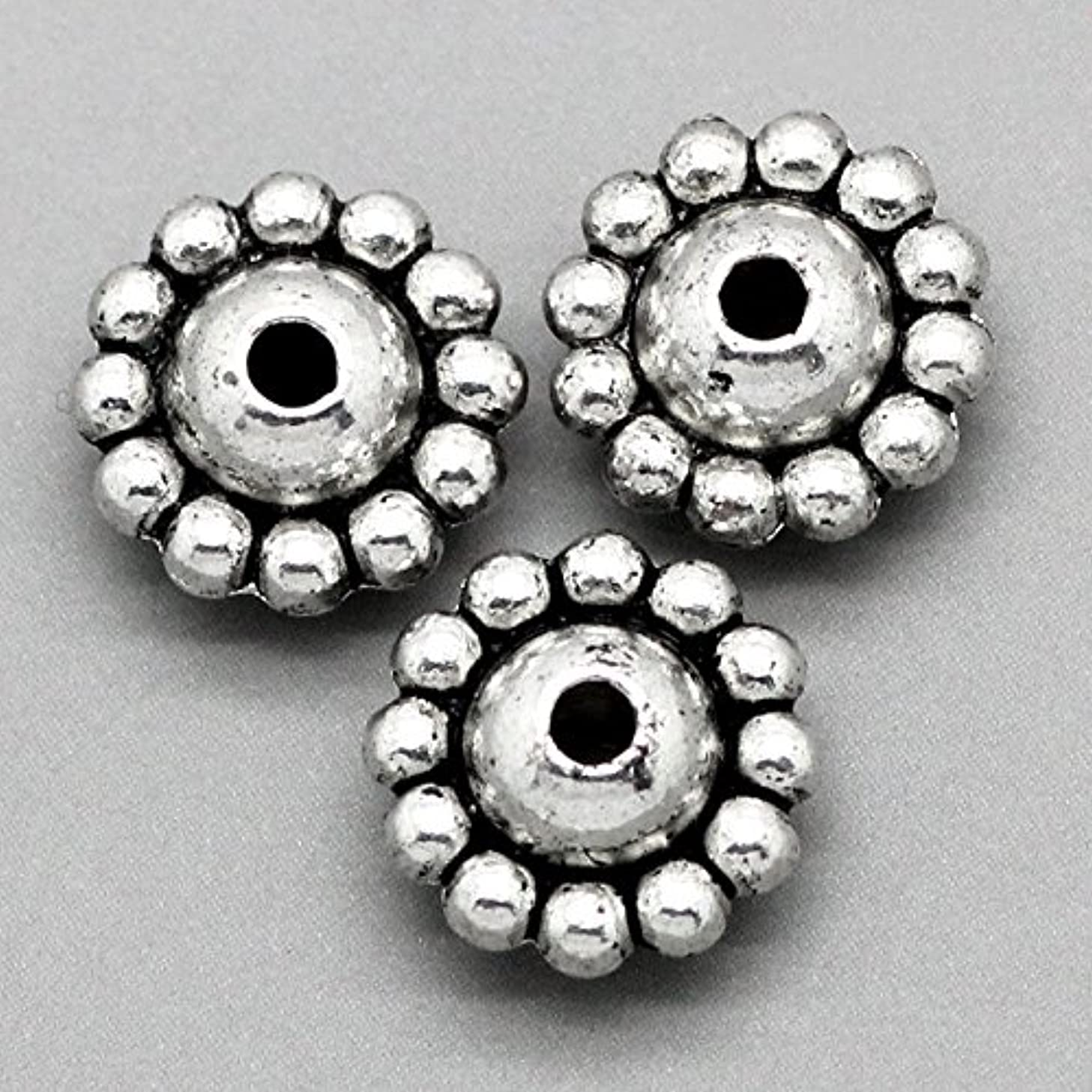 50pc Antiqued Silver Dot Spacer Beads 9x5mm Beading Supplies [Office Product]