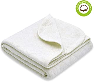 Zenssia Organic Cotton Baby Blanket Warm, Breathable and Super Soft Quilted Toddler Blanket for Boys and Girls - Hypoallergenic Thermal Crib Blanket Thick and Light Weight 39''x47'' Large - Ivory
