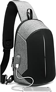 GYNSSJBB Casual Chest Bag with USB Charging Port, Waterproof Large Capacity Chest Bag, Men's Small Backpack Chest Bag, Business, Office, School, Travel (Color : Silver)