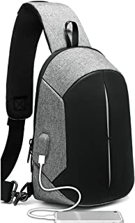 WUNONG-AU Waterproof Large Capacity Chest Bag Men's Small Backpack Chest Bag Business Office School Travel Casual Chest Bag with USB Charging Port (Color : Silver)
