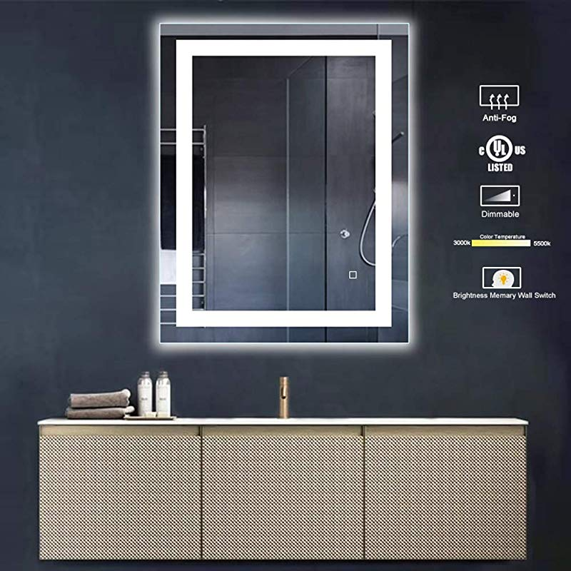 32 X 24 Inch Bathroom Vanity Mirror LED Backlit Wall Mounted Defogger Dimmable Touch Switch UL Listed Polished Eadge Frameless 5500K Cool White 3000K Warm CRI 90 Vertical Horizontal