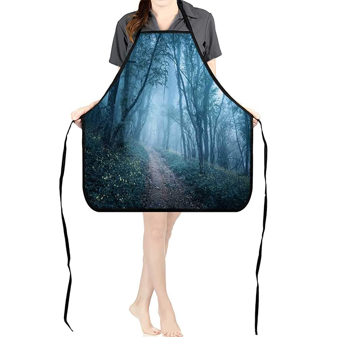 Jiahong Pan Men and Women Kitchen Apron Trail Through a Mysterious Dark Forest in Fog with Green Leaves and Flowers Spring Morning for Cooking, Baking, Crafting, Gardening, BBQK17.7xG26.6xB9
