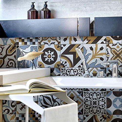 Lote de 10 adhesivos para azulejos, tamaño 20 x 20 cm, fabricados en Italia, PS00158, adhesivos de PVC para azulejos de baño y cocina