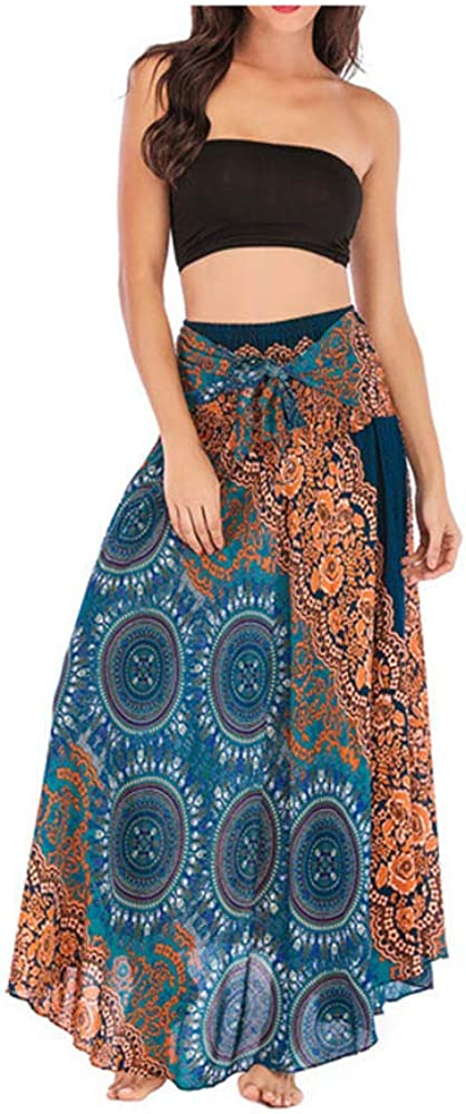 MODOQO Women's Long Skirt Casual Summer Bohemian Boho Floral Print Dress Skirt