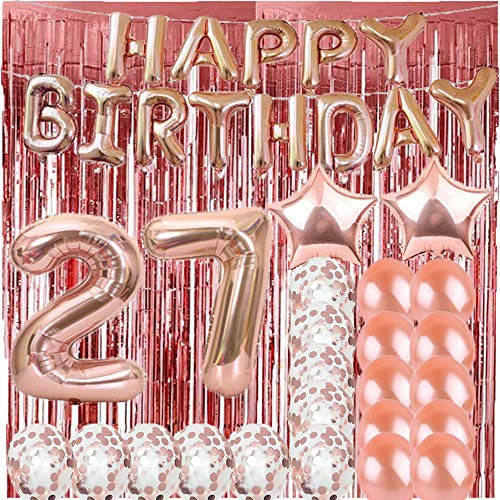 Sweet 27th Birthday Decorations Party Supplies,Rose Gold Number 27 Balloons,27th Mylar Balloons Rose Gold Foil Fringe Curtains Photo Backdrop Great 27th Birthday Gifts for Girls,Women,Men,Photo Props