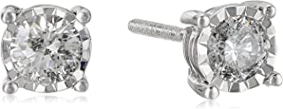 14k Round Diamond White Gold Miracle Stud Earrings (J-K Color, I2-I3 Clarity)