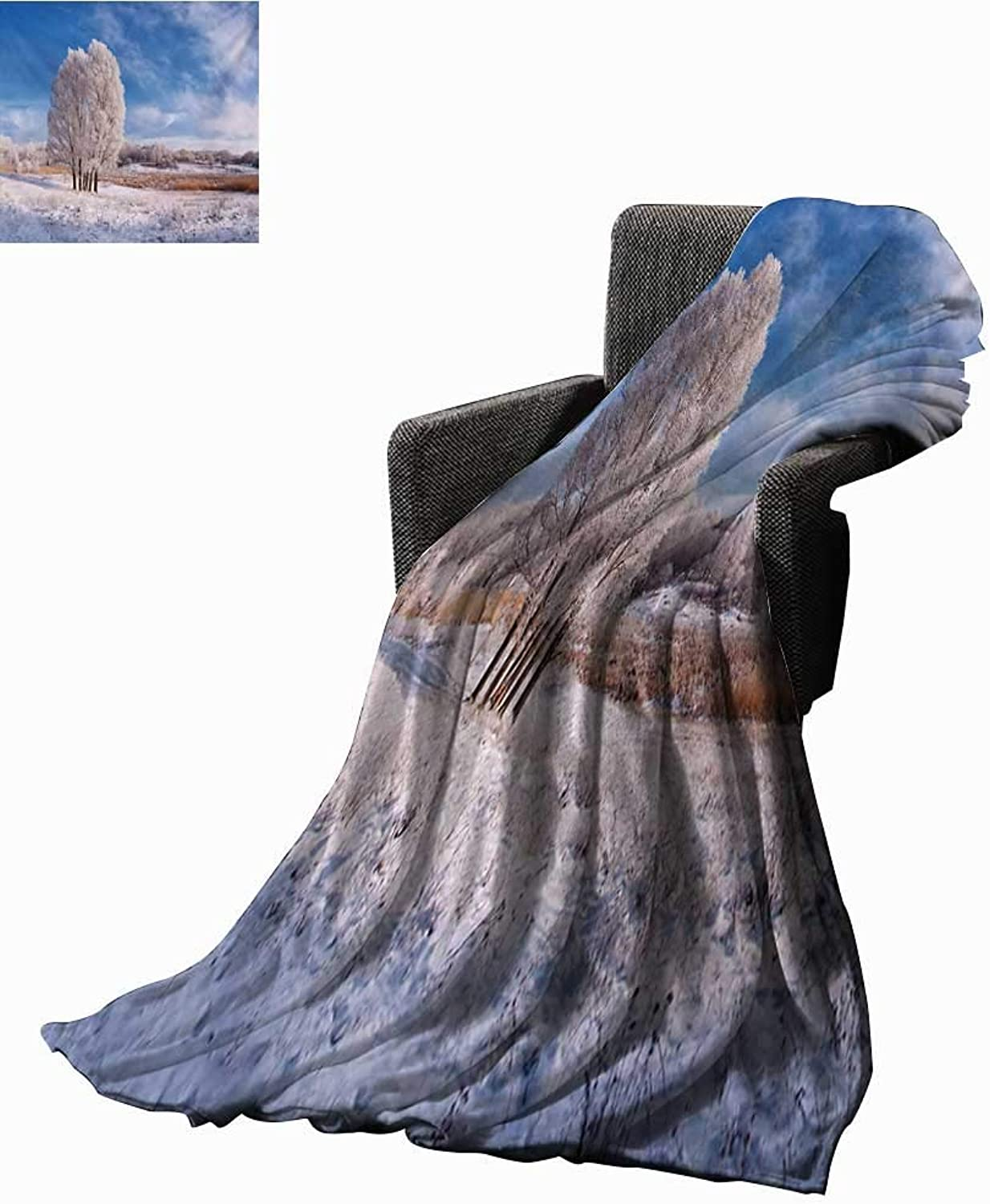 Nature Super Soft Lightweight Blanket Winter Landscape with Snowy Foliage and Tree ICY Frozen Lands Panorama,Super Soft and Comfortable,Suitable for Sofas,Chairs,beds