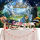 7x5FT Alice in Wonderland Photo Backdrop Photography Background for Newborn,Baby Shower,Child's Birthday Party Decorations Supplies Booth Props (FBM-2A-SASI-RU1O)