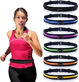 Running Belt Slim Waist Pocket Belt with 2 Expandable Pockets - Sweat Resistant Runners Belt Fanny Pack Mobile Phone Pouch Bag for Hiking Cycling Climbing Jogging and for 6.5 inches Smartphones