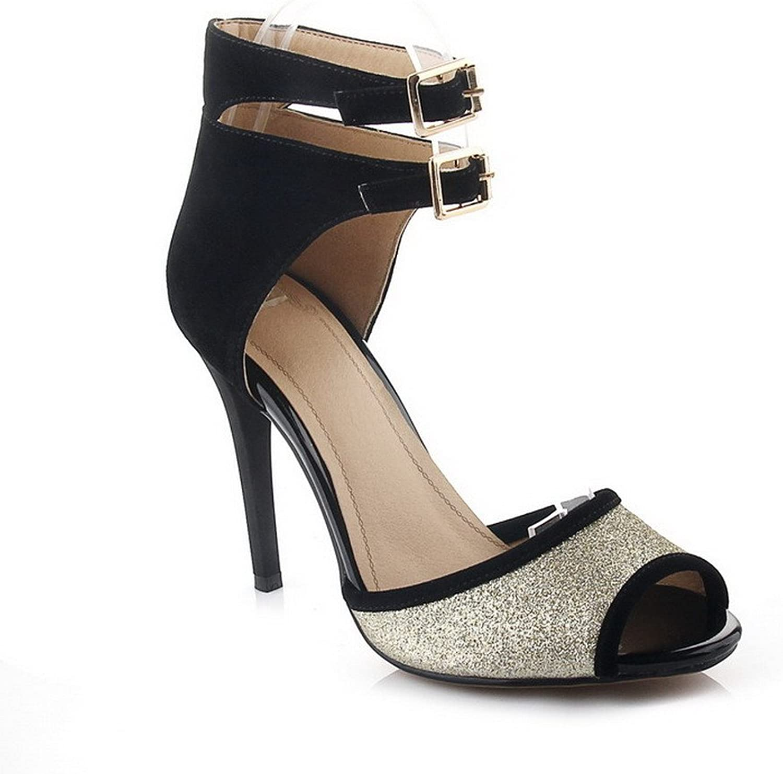 AmoonyFashion Women's Assorted color Blend Materials High-Heels Peep-Toe Buckle Sandals