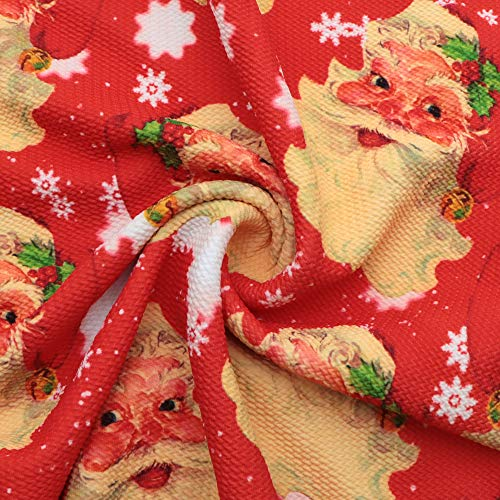 David Angie Merry Christmas Santa Claus Pattern 4 Way Stretch Bullet Textured Liverpool Fabric Polyester Spandex Knit Fabric by The Yard for Head Wrap Accessories (Red)