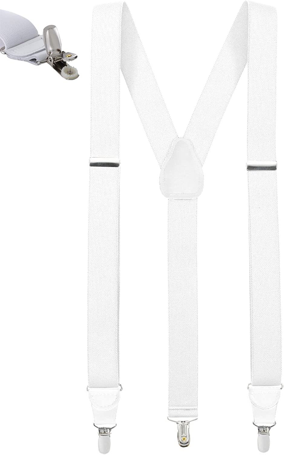 Mens Elastic No Slip Pin Clip Y Back Suspenders With Leather Trim -