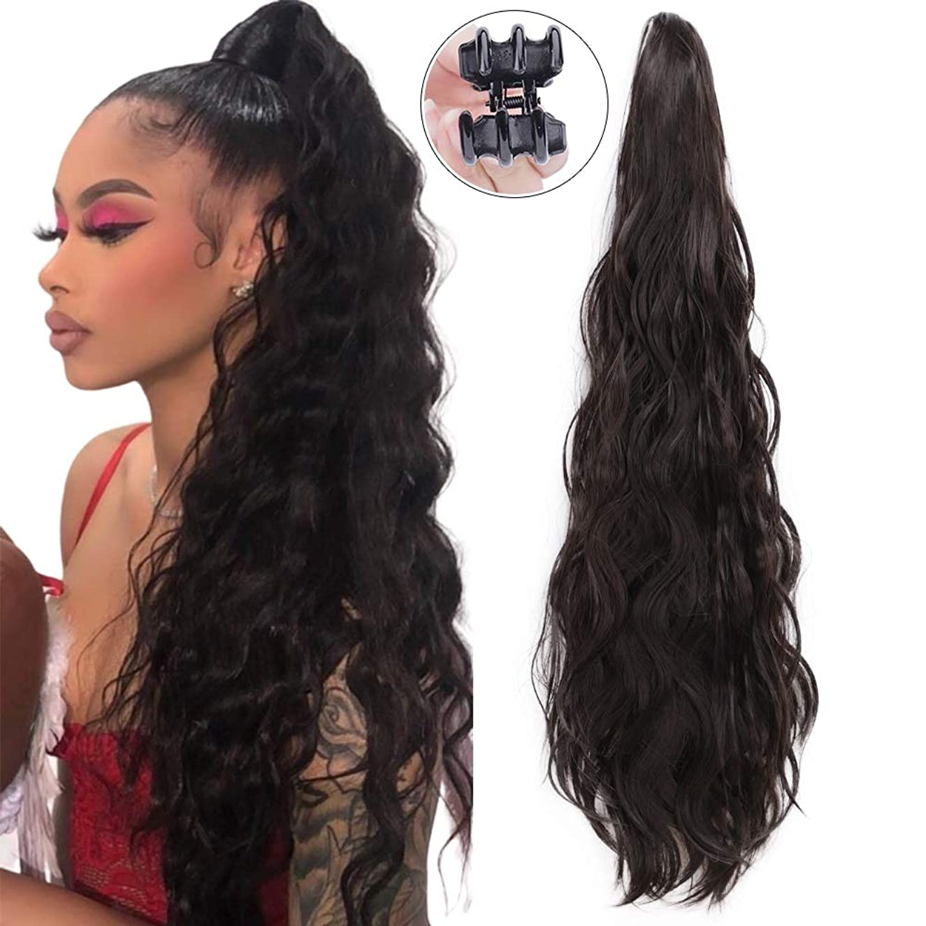 24 Inch Long Curly Wavy Ponytail Extension Synthetic Curly Ponytail Clip in Claw Ponytail Extensions for Women Natural Ponytail Drawstring Hair Hairpieces(4#)