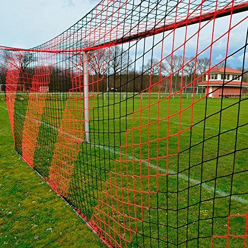 DONET Fußballtornetz 7,5 x 2,5 m Tiefe Oben 0,80 / unten 1,50 m, zweifarbig, PP 4 mm ø, schwarz/rot
