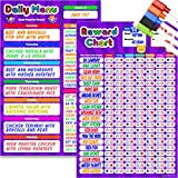Reward & Behavior Star Chore Chart and Menu Board, Magnetic Dry Erase Set for Kids - 11' x 17' Multiple Responsibility & Incentive Refrigerator Board - 11' x 17' Weekly Meal Planner Reusable Magnet