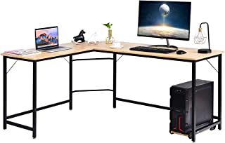 Tangkula L-Shaped Corner Computer Desk with CPU Stand, PC Laptop Study Table with Lager Working Space and Adjustable Foot Pads, Perfect for Office, Bedroom or Game Room, Natural