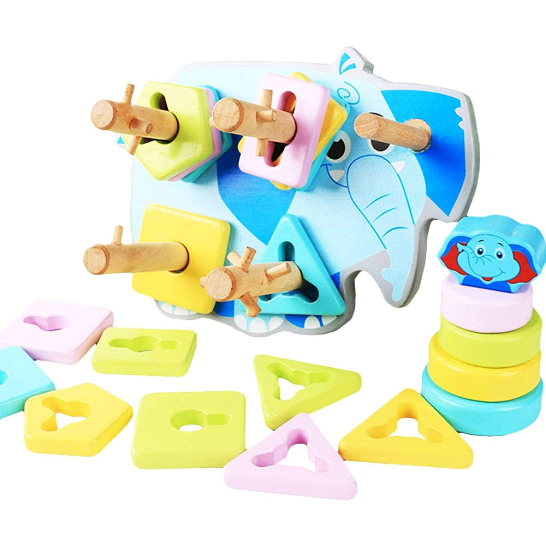 Toyvian Wooden Educational Toys Shape Color Sorting Recognition Geometric Preschool Stacking Ring Blocks Board Puzzles Toys for Kids twjk018126035137