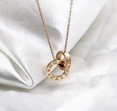 Dames ketting nieuwe dubbele ring digitale dubbele gesp korte munt ketting vrouwelijke hete mode meisje titanium staal ros...