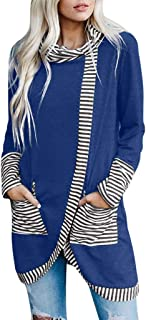 Women's Patchwork Print Pullover Loose Tops Scarf Collar Casual Blouse T-Shirt