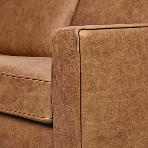"Amazon Brand – Rivet Andrews Contemporary Top-Grain Leather Sofa, 67"" W, Cognac"