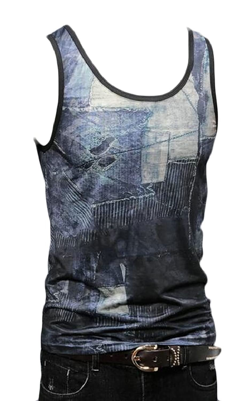 maweisong Mens Summer Casual Sleeveless Gradient Print Tank Top Shirts