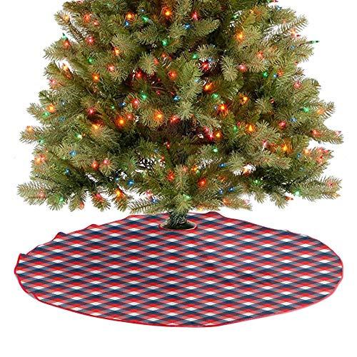 Homesonne Faldones de árbol, a cuadros con cuadros de cuadros con cuadros de rayas ingleses antiguos, adornos de Navidad para granja, chimenea, fiesta, azul marino, bermellón blanco, 91,4 cm