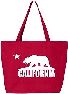 LA Los Angeles Canvas Tote Bag Shopping Shoulder Grey Ombre Neutral California Machine Washable Durable Cotton Straps Black Small Large