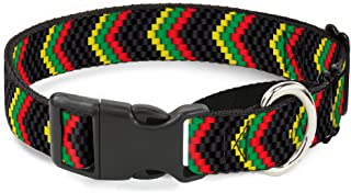 "Buckle Down Chevron Weave Black/Rasta Martingale Dog Collar 1"" Wide - Fits 15-26"" Neck - Large MGC-W30363-L"