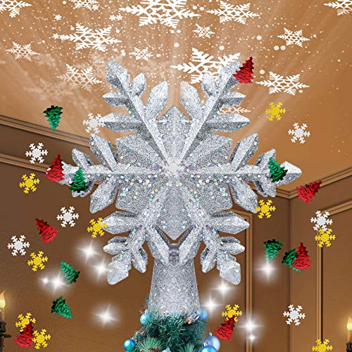 TEEDOR Christmas Tree Topper Lighted Snowflake Projector Light LED and Christmas Foil Confetti Glitter for Christmas Xmas Tree Toppers (Silver)