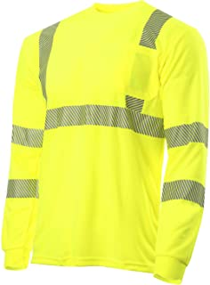 JORESTECH Safety T Shirt Heat Transfer Reflective High Visibility Long Sleeve Yellow/Lime ANSI Class 3 Level 2 Type R TS-04 (M)
